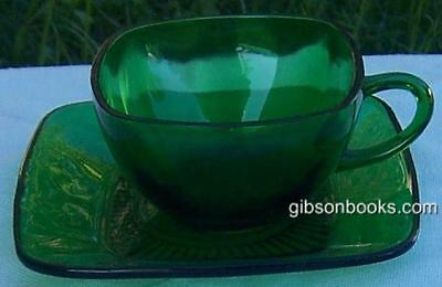 Vintage Anchor Hocking Forest Green Glass Charm Cup And Saucer