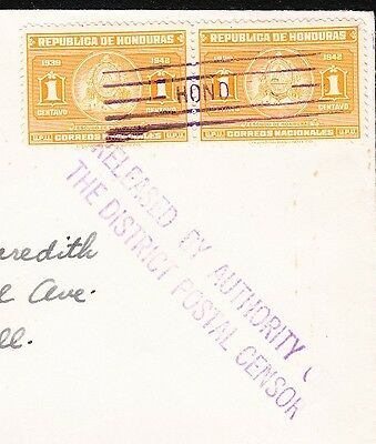 WWII Honduras Gunope 1942 Scarce Censor Auxiliary Released By Authority Cover 2u