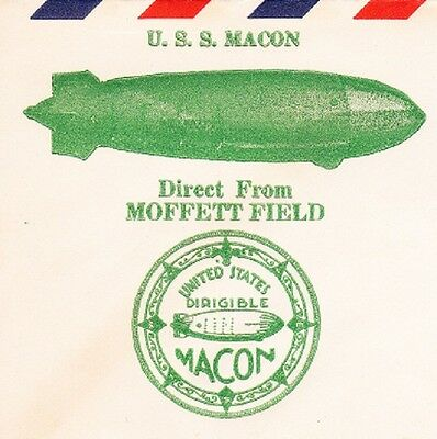 USS Macon Airship Zeppelin Moffet Field 1.15.35 ONLY 284 MADE Cover Ö