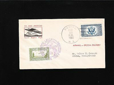 1st Rocket Airplane Flight Cachet Cover Tied Cinderella Hewitt NJ 1936 SCARCE Ö