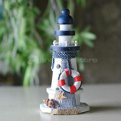Nautical Decor Wooden Crafted Lighthouse Light Tower Starfish Shell Lifebouy