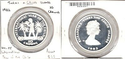 Turks & Caicos Is. - 1982 10 Crown. KM:55. PROOF.