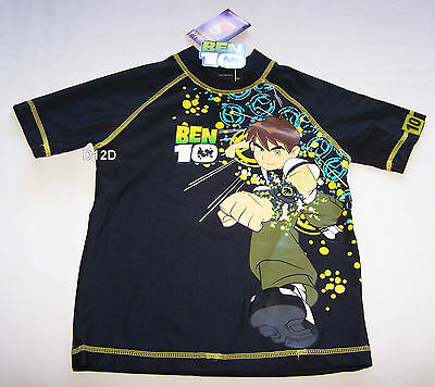 Ben 10 Alien Boys Black Printed Rash Vest Size 4 New