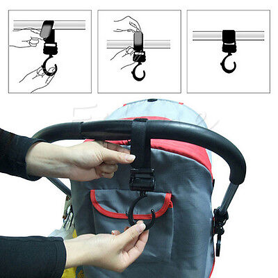 2pcs Baby Buggy Prams Strollers Pushchair Strap Swivel Hanger Hooks Bags
