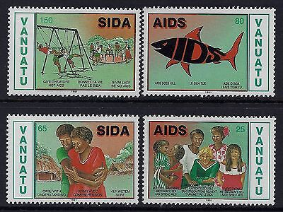 1991 Vanuatu World Aids Day Set Of 4 Fine Mint Mnh/muh