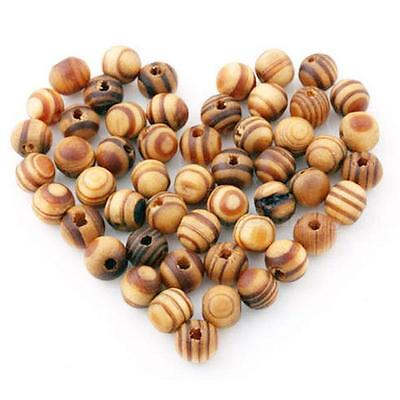 100pcs Brown Wood Spacers Loose beads Necklace Bracelet Charms Findings 8mm NDUK