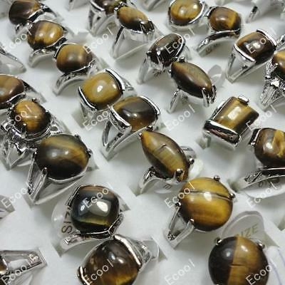 5pcs Wholesale Jewelry Lots Tiger-eye Pretty Silver Plated Rings Free Shipping