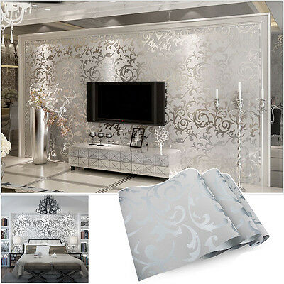 vliestapete 3d optik vlies wand tapete barock rolle wandtapete dekoration silber eur 12 44. Black Bedroom Furniture Sets. Home Design Ideas