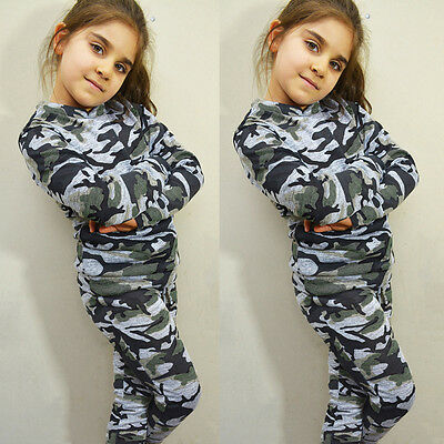 UK Girls Boys Kids Camouflage Blouse T-Shirt Top + Trousers Pants Outfit Clothes