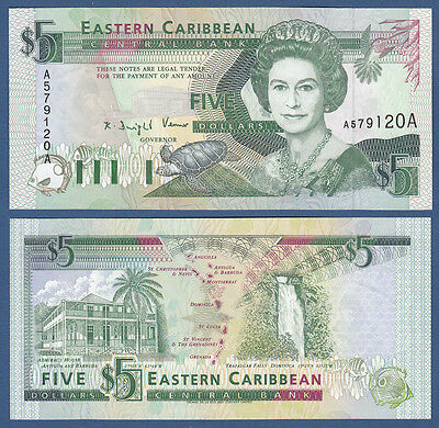 EAST CARIBBEAN STATES 5 Dollars (1993) UNC P.26 a