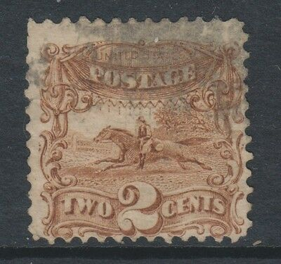 USA - 1869, 2c Yellow-Brown stamp - Used - SG 115a (Cat. £90)