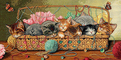 """Gold Collection Kitty Litter Counted Cross Stitch Kit-18""""X9"""" 18 Count"""