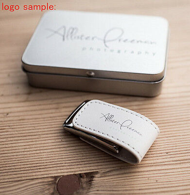 Leather USB 3.0 Personalized Custom Flash Drive Photography Studio Wedding Gift