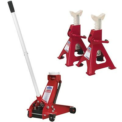 Sealey 3290CX 3 Tonne Hydraulic Car Trolley Jack w/ VS2003 6 Tonne Axle Stand