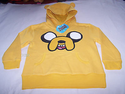 Adventure Time Boys Jake Face Yellow Printed Warm Hoodie Jumper Size 8 New
