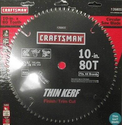 "Craftsman 26800 10"" x 80 Tooth Carbide Saw Blade Finish Trim Cut"