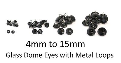 GLASS DOME EYES with METAL LOOPS Teddy Bear Making Soft Toy Doll Animal Craft
