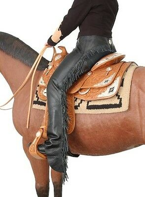 Tough 1 premium smooth leather black chaps size small horse tack equine