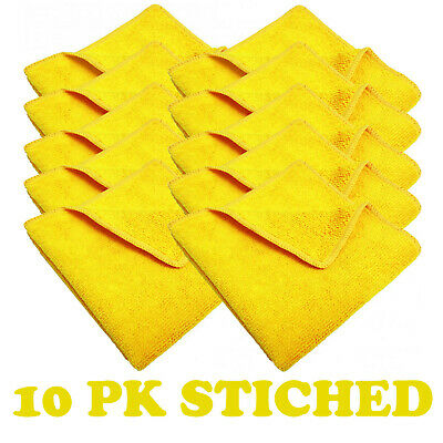 10x YELLOW CAR CLEANING DETAILING MICROFIBER SOFT POLISH CLOTHS TOWELS LINT FREE
