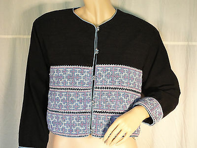 Black blue Hill Tribe embroidery Jacket coat Asian cotton Lined bells LS boho M