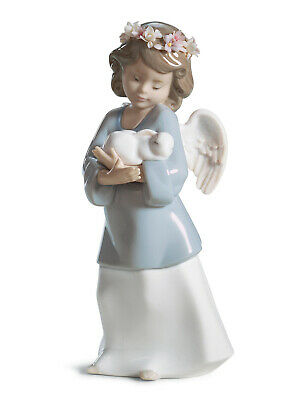 Lladro #6856 Heavenly Love Brand New In Box Girl Angel Bunny Religion Save$ F/sh