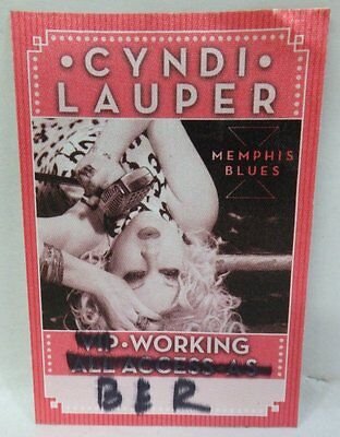 Original 2011 Cyndi Lauper Memphis Blues Concert Crew Worker Back Stage Pass