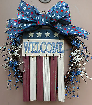 """15"""" Red White Blue July 4th Patriotic Americana Wood Flag Grapevine Wreath"""