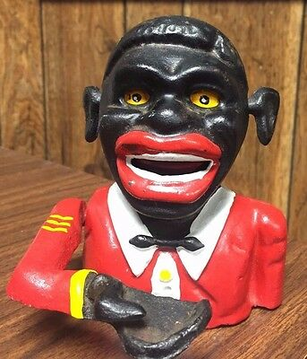 VINTAGE BLACK AMERICANA JOLLY NEGRO CAST IRON BANK with Moving Hand WORKS GREAT!