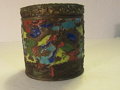 """Antique Chinese Tea Caddy Painted Enamel Brass Dragon 3"""" tall Box"""