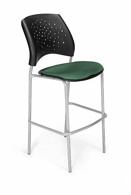 """OFM Stars and Moon 31.25"""" Bar Stool Silver Vinyl Teal"""