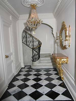 25 Miniature Real Polished Black & White Marble Dolls House Floor Tiles