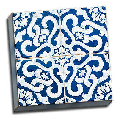 Picture it on Canvas 'Patchwork Tiles' Wall Art on Wrapped Canvas in Blue