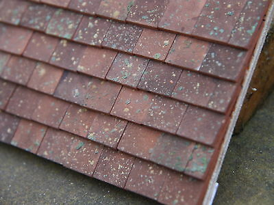 50 Real Brick 1:12th Old Village Weathered Miniature Roof Tiles for Dollshouses