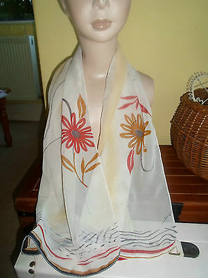 1 NEW Mixed Fibre Ladies Scarf FLORAL RUSTIC AUTUMN COLOURS Gift Idea #42