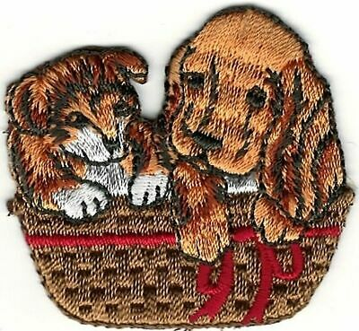Cartoon Golden Retriever Dog Puppies in Basket Embroidery Patch