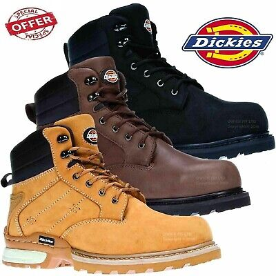 DICKIES CANTON | Safety Work Boots | Black/Brown | STEEL TOE | Nubuck Leather