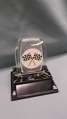 racing car show checkered flag trophy full color insert fossil award