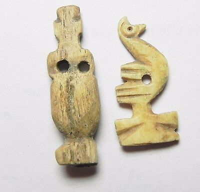 Zurqieh -Af484-  Ancient Egypt - Lot Of Two, Bone Amulets , 1075 B.c- 600 A.d