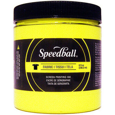 """Speedball Fabric Screen Printing Ink Fluorescent 8oz-Yellow, Set Of 2"""