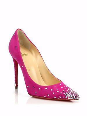low priced e5dc3 6920f CHRISTIAN LOUBOUTIN DEGRASTRASS Crystal Suede Heels Pump Shoes Indian Rose  $1195