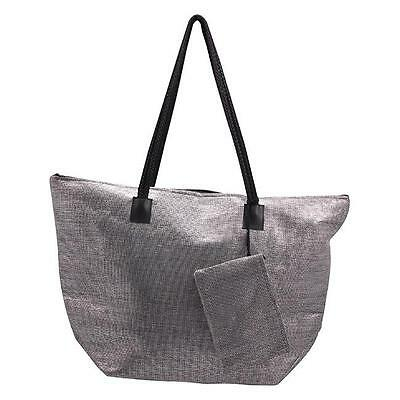 290-WSSB Roberto Amee Silver Woven Straw Tote Bag