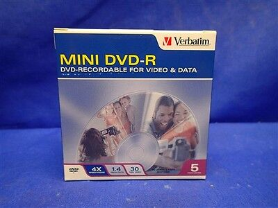 Verbatim Mini Dvd-R 1.4 Gb 4X Speed 30 Min Video Data New In Box (5 Disks/box)