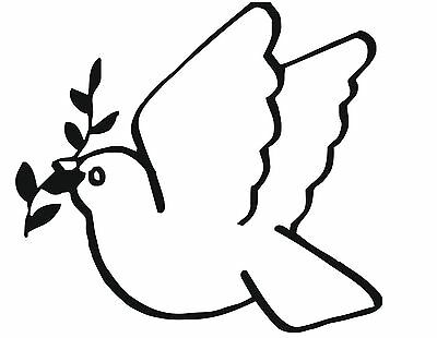 DOVE OF PEACE Sticker Car/Bike/Wall/Window *Colour & Size Choice*  (cr/msc)