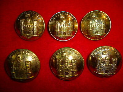 "Set of (6) Inniskilling Fusiliers Officer's Gilt Buttons, 1"" dia."