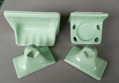 Green porcelain bathroom fixtures Cup Holder Soap Tray 2 small towel handles lot
