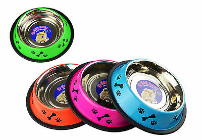 """""""Fred's Feeding"""" Dog Bowl Stainless Steel with Plastic Rim 16oz by World Of Pets"""