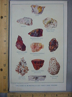 Rare Antique Orig VTG Valuable Minerals As They Are Found Color Litho Art Print