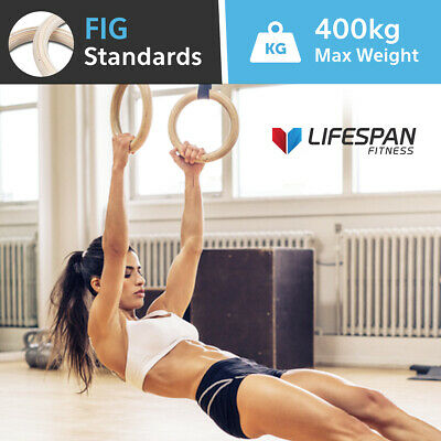 Lifespan Fitness Wooden Olympic Gymnastic Rings Crossfit Exercise Chin Up