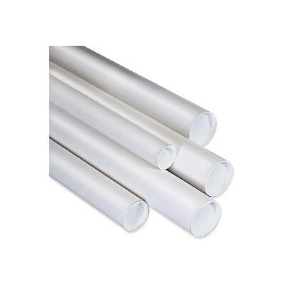 """""""Mailing Tubes with Caps, 1-1/2""""""""x9"""""""", White, 50/Case"""""""