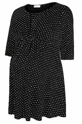 Yoursclothing Plus Size Womens Maternity & White Polka Dot Top With Waist Tie